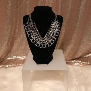 Jewelry - Silver Layered Chain Detail Fashion Necklace